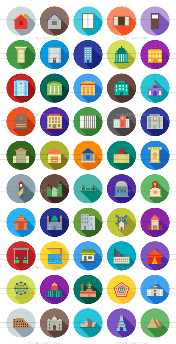 50 Buildings & Landmarks Flat Shadowed Icons - Preview - IconBunny