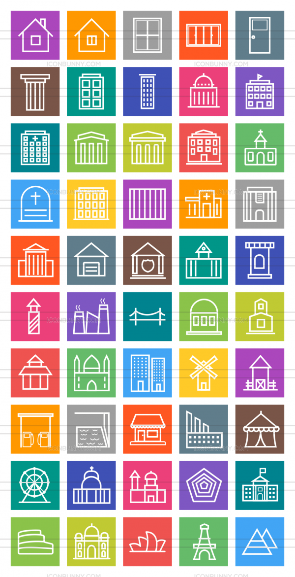 50 Buildings & Landmarks Line Multicolor B/G Icons - Preview - IconBunny