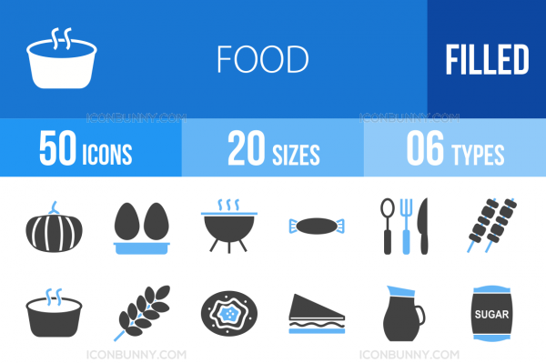 50 Food Blue & Black Icons - Overview - IconBunny