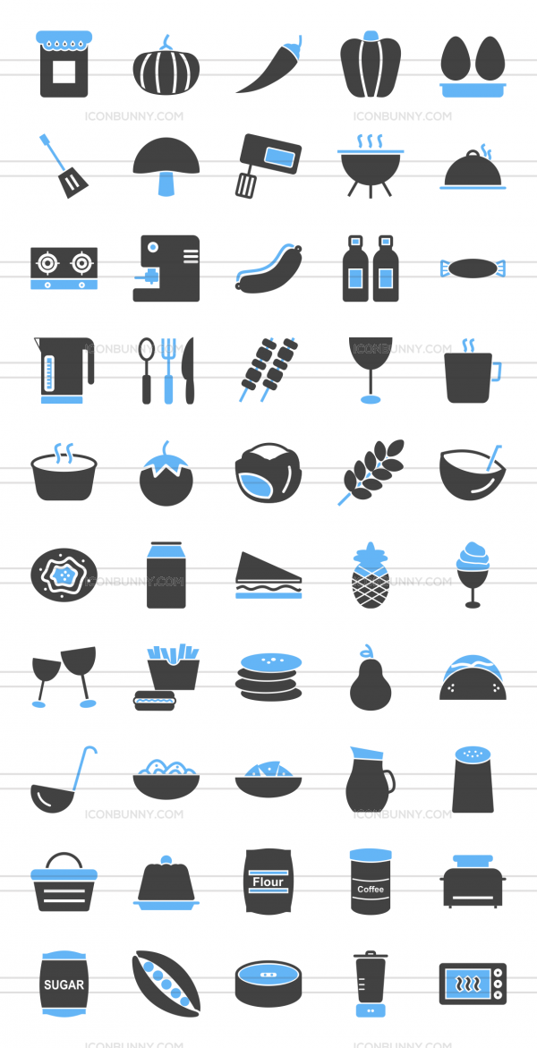 50 Food Blue & Black Icons - Preview - IconBunny