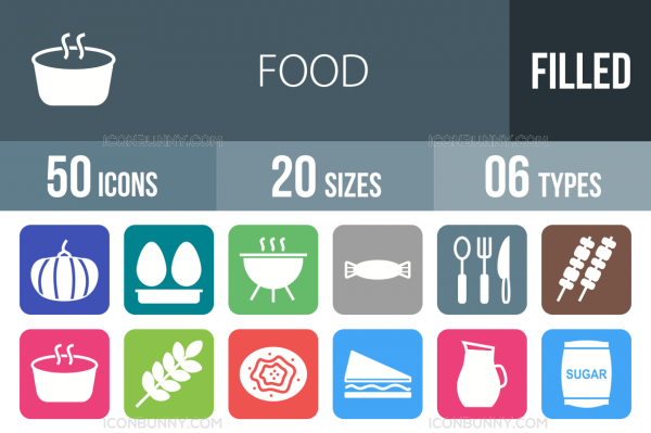 50 Food Flat Round Corner Icons - Overview - IconBunny