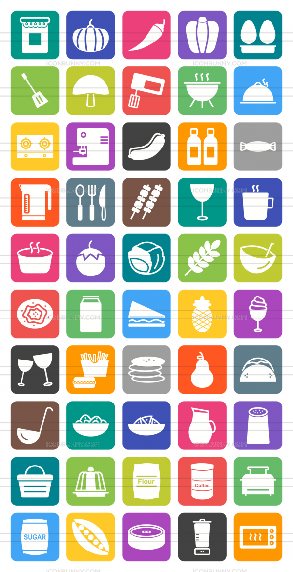 50 Food Flat Round Corner Icons - Preview - IconBunny