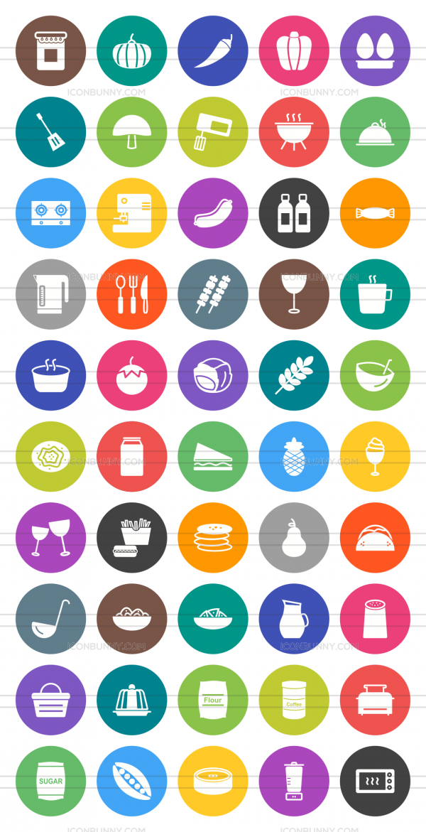 50 Food Flat Round Icons - Preview - IconBunny