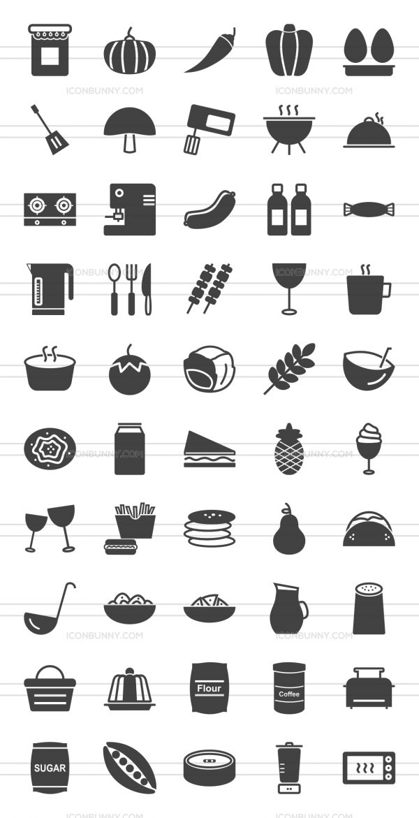 50 Food Glyph Icons - Preview - IconBunny