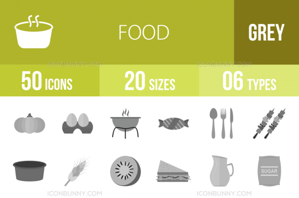 50 Food Greyscale Icons - Overview - IconBunny