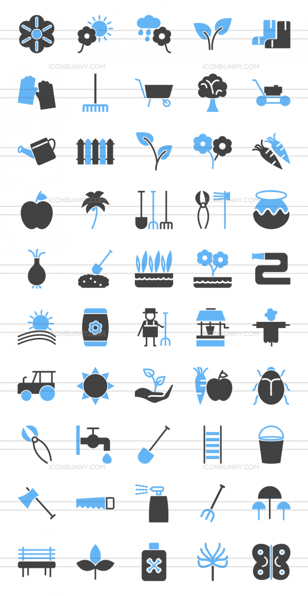 50 Gardening Blue & Black Icons - Preview - IconBunny