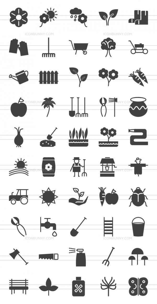 50 Gardening Glyph Icons - Preview - IconBunny