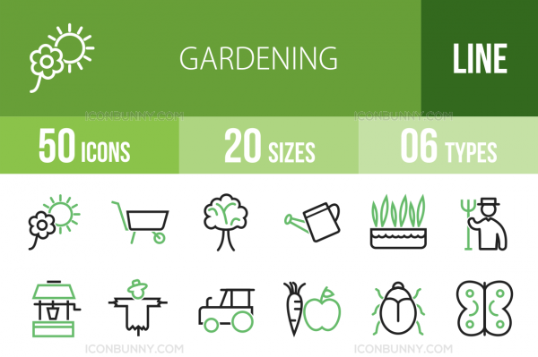 50 Gardening Line Green & Black Icons - Overview - IconBunny