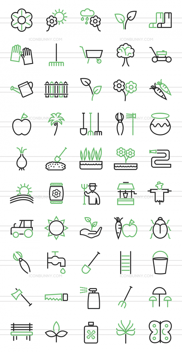 50 Gardening Line Green & Black Icons - Preview - IconBunny