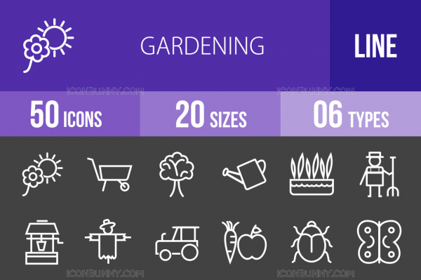50 Gardening Line Inverted Icons - Overview - IconBunny