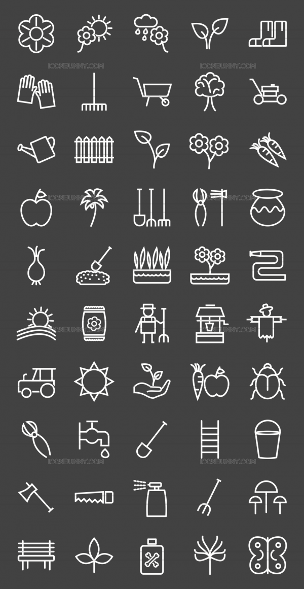 50 Gardening Line Inverted Icons - Preview - IconBunny