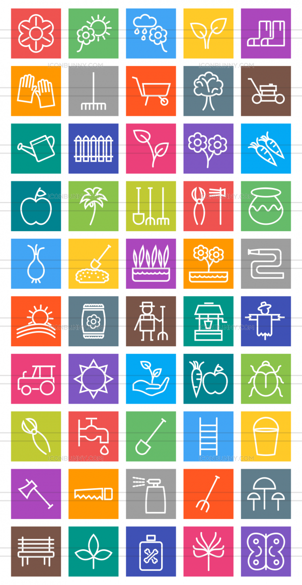 50 Gardening Line Multicolor B/G Icons - Preview - IconBunny