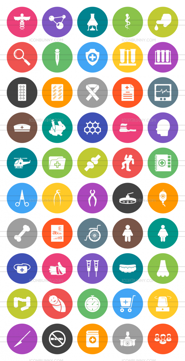 50 Healthcare Flat Round Icons - Preview - IconBunny