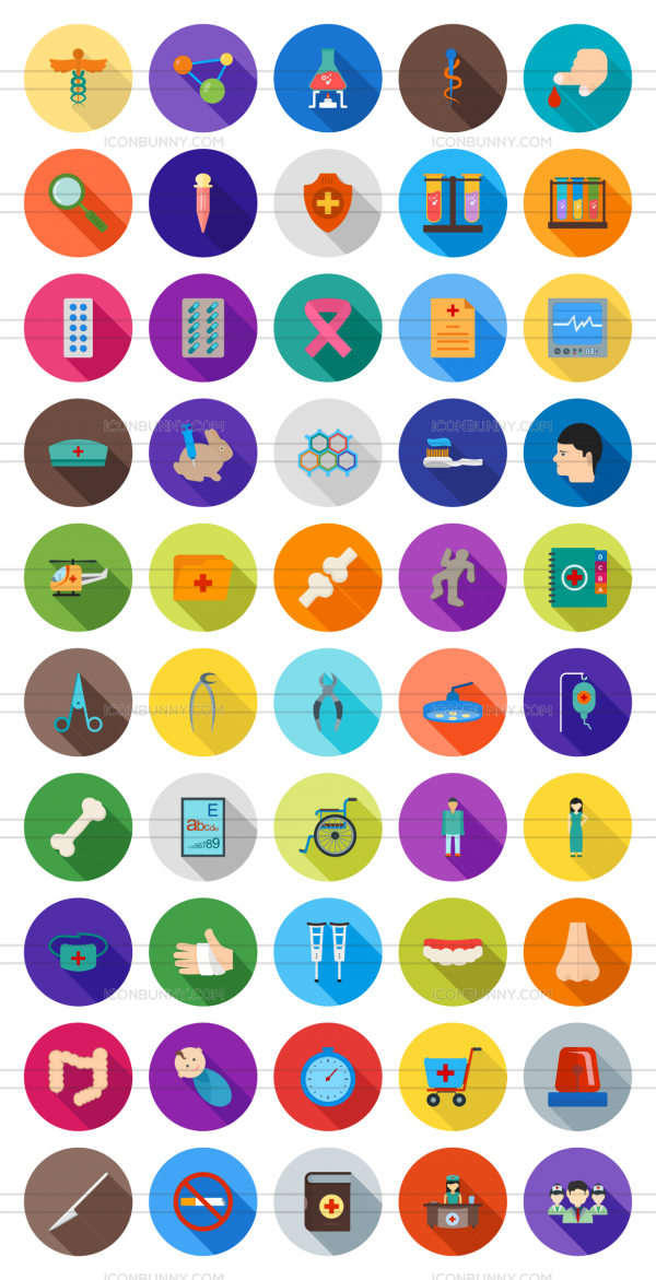 50 Healthcare Flat Shadowed Icons - Preview - IconBunny