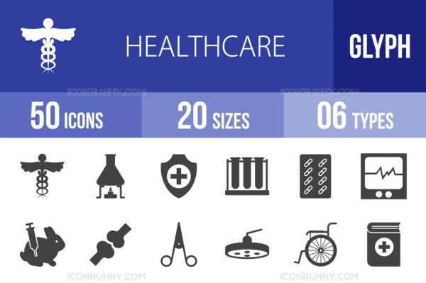 50 Healthcare Glyph Icons - Overview - IconBunny