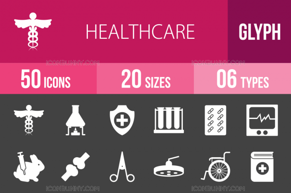50 Healthcare Glyph Inverted Icons - Overview - IconBunny