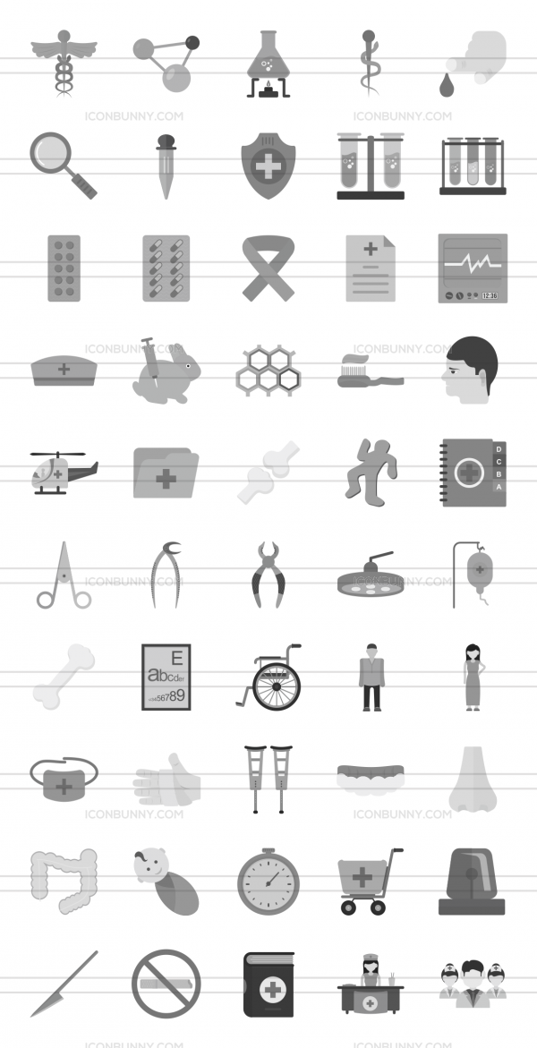 50 Healthcare Greyscale Icons - Preview - IconBunny