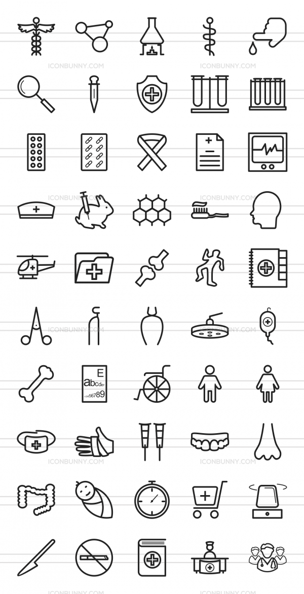 50 Healthcare Line Icons - Preview - IconBunny