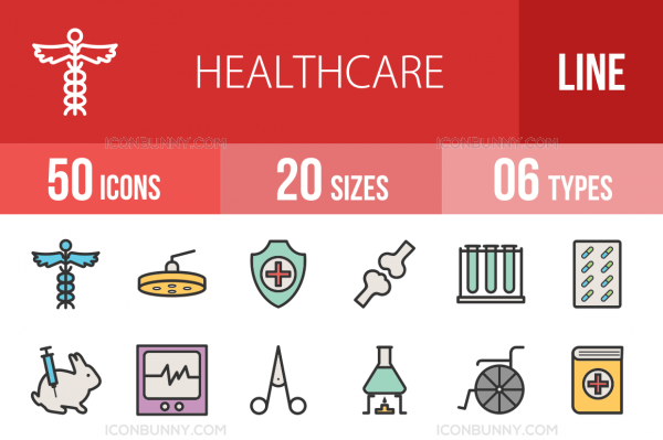 50 Healthcare Line Multicolor Filled Icons - Overview - IconBunny