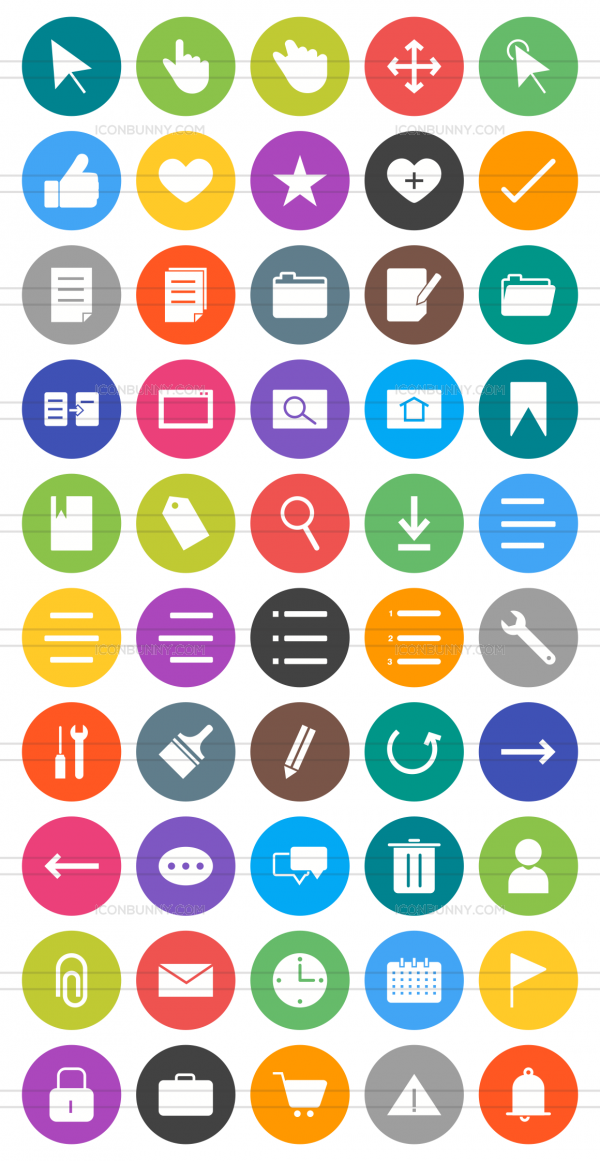 50 Interface Flat Round Icons - Preview - IconBunny