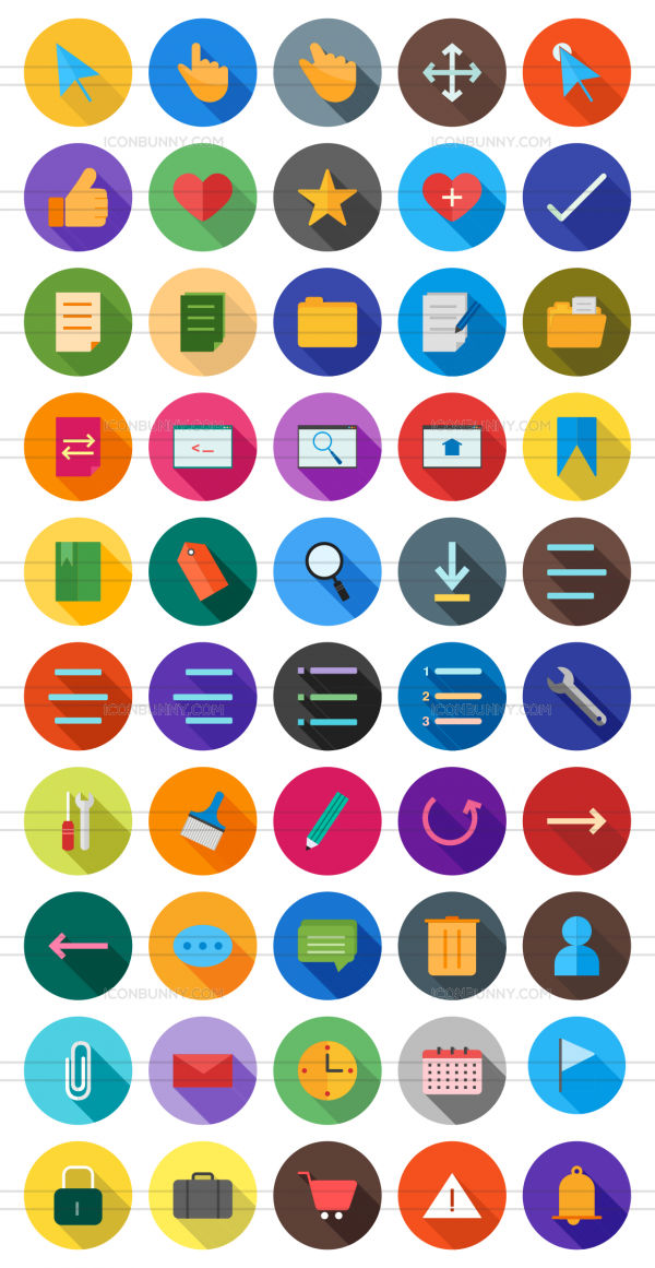50 Interface Flat Shadowed Icons - Preview - IconBunny