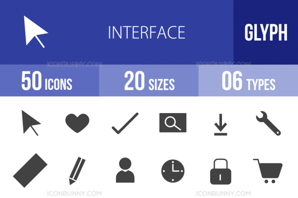 50 Interface Glyph Icons - Overview - IconBunny