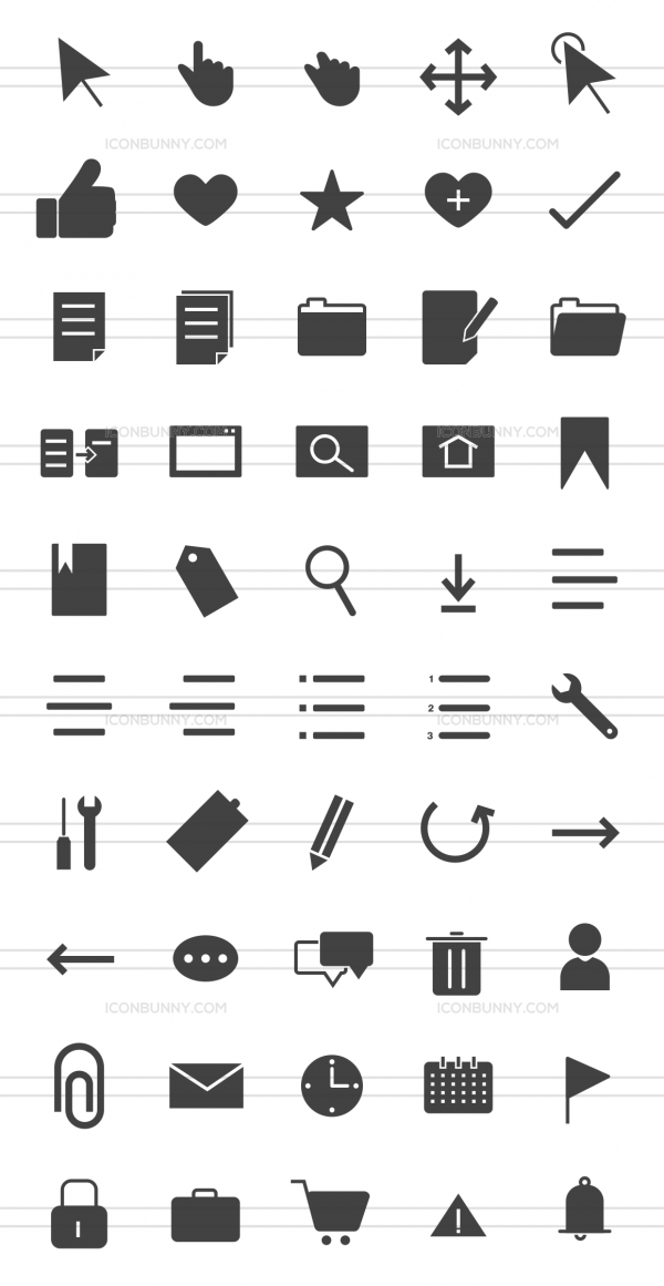 50 Interface Glyph Icons - Preview - IconBunny