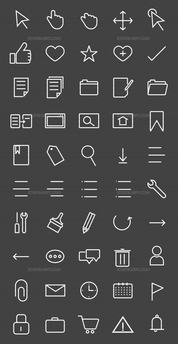 50 Interface Line Inverted Icons - Preview - IconBunny