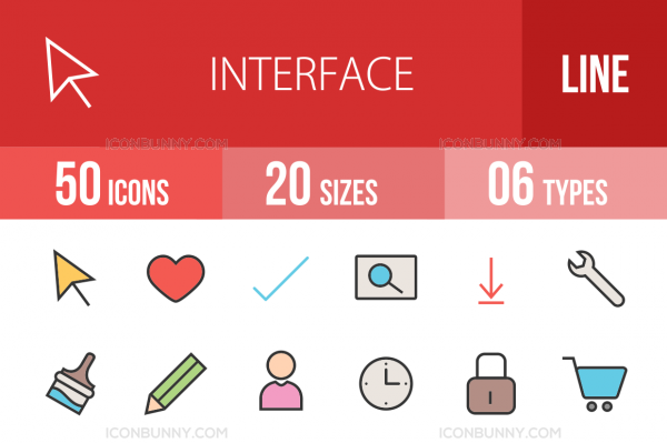 50 Interface Line Multicolor Filled Icons - Overview - IconBunny