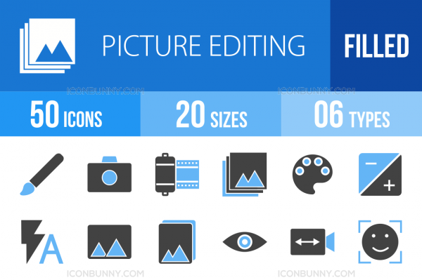 50 Picture Editing Blue Black Icons - Overview - IconBunny
