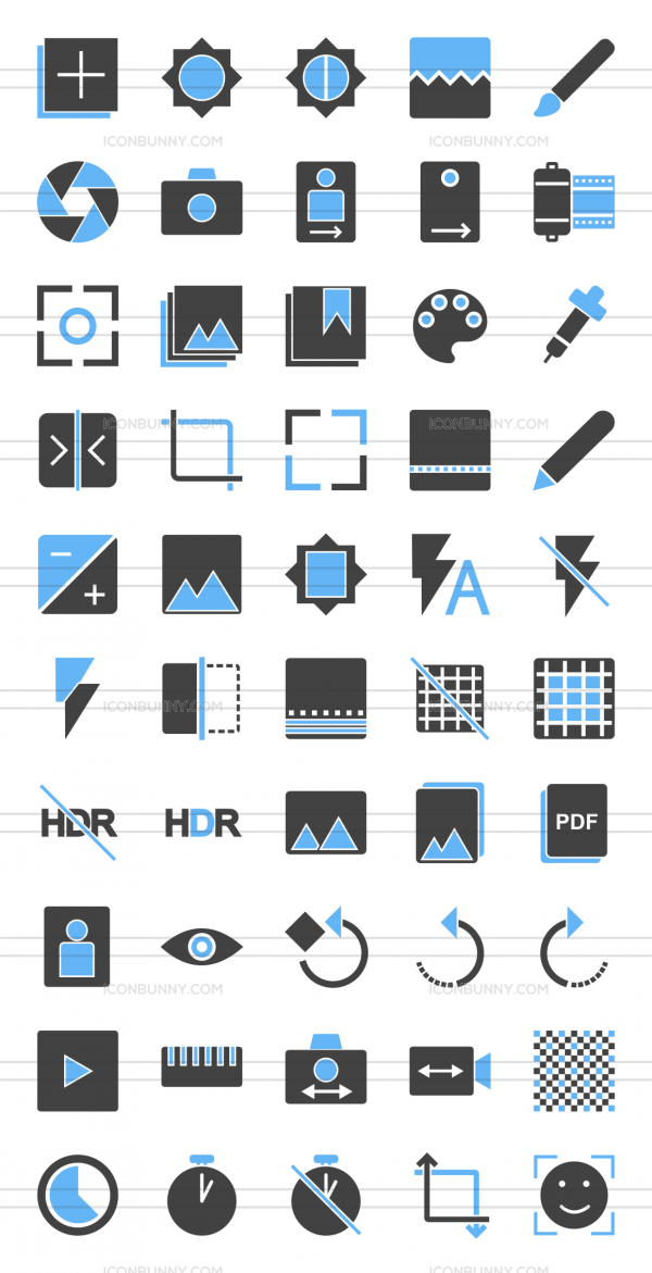 50 Picture Editing Blue Black Icons - Preview - IconBunny