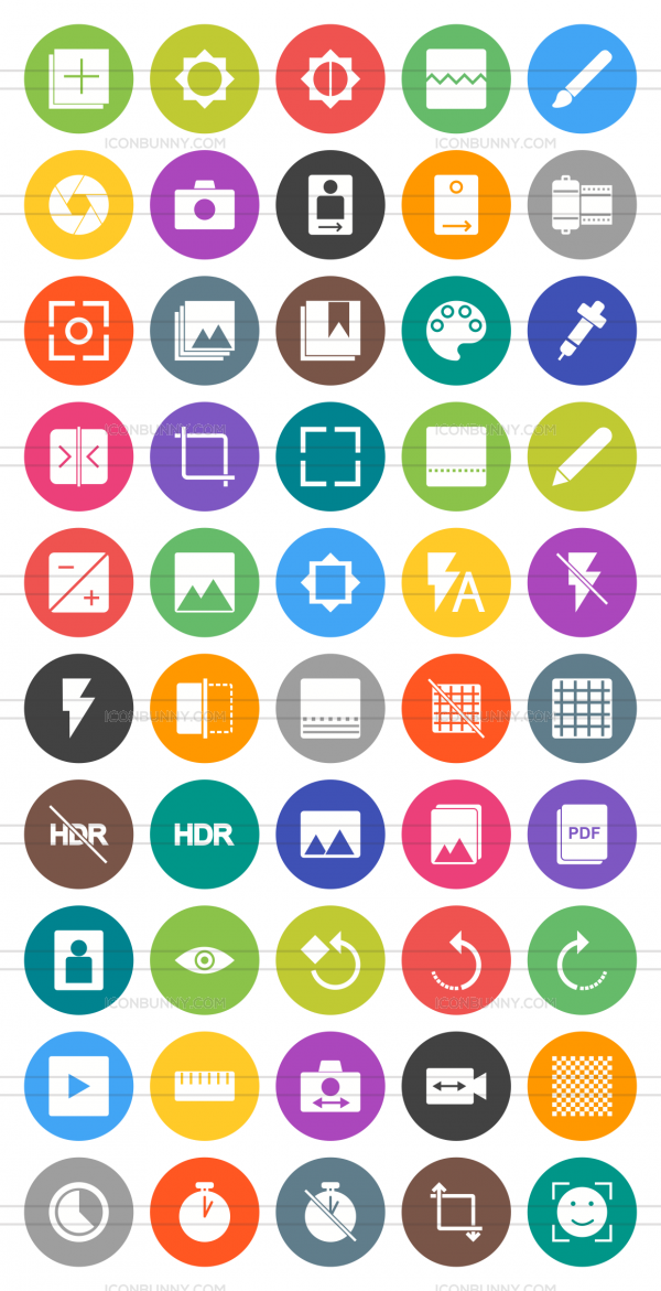 50 Picture Editing Flat Round Icons - Preview - IconBunny