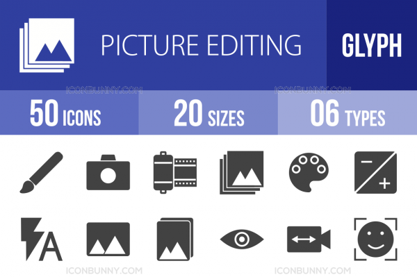 50 Picture Editing Glyph Icons - Overview - IconBunny