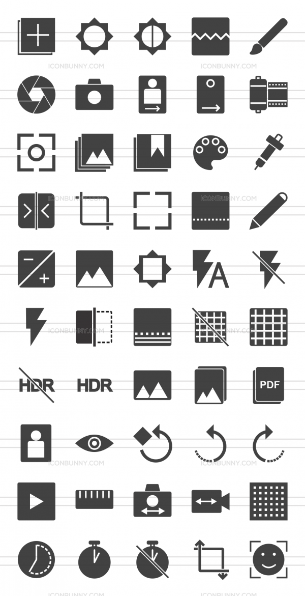 50 Picture Editing Glyph Icons - Preview - IconBunny