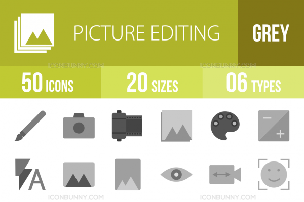 50 Picture Editing Greyscale Icons - Overview - IconBunny