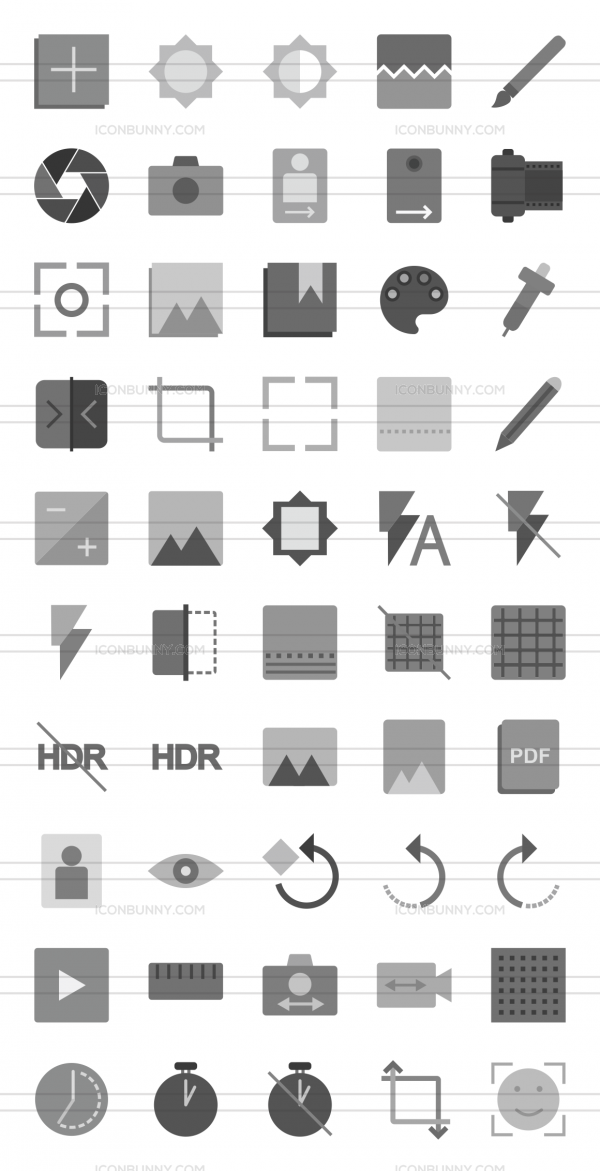 50 Picture Editing Greyscale Icons - Preview - IconBunny