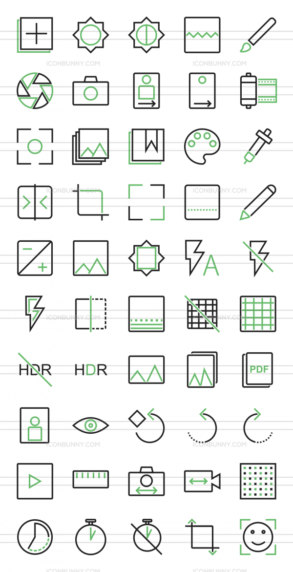 50 Picture Editing Line Green Black Icons - Preview - IconBunny