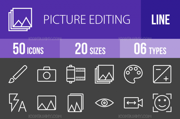 50 Picture Editing Line Inverted Icons - Overview - IconBunny