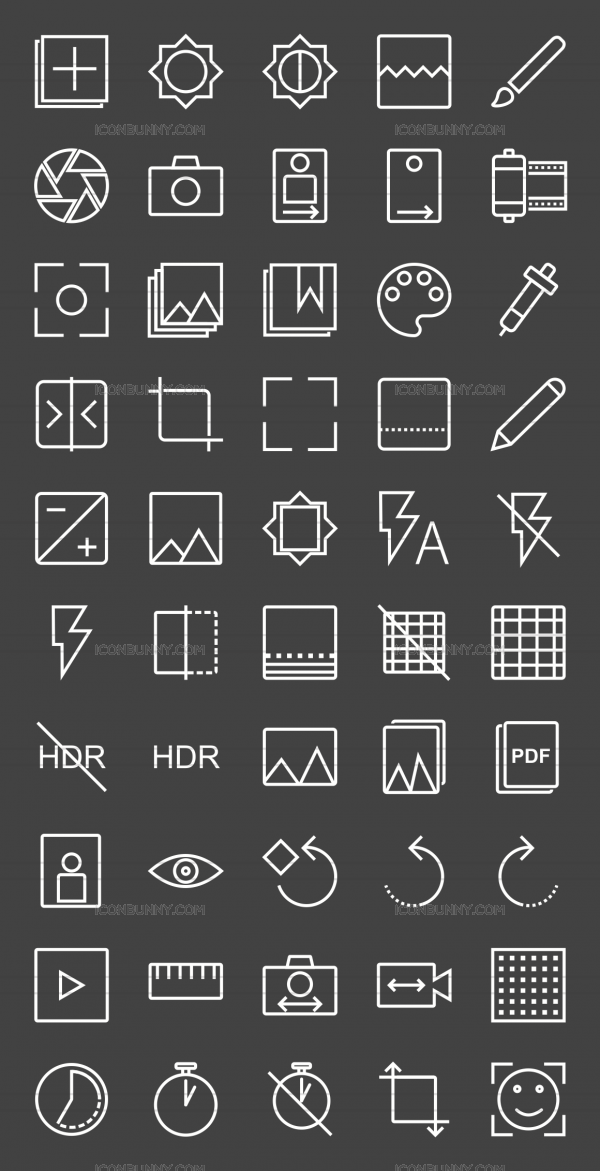 50 Picture Editing Line Inverted Icons - Preview - IconBunny