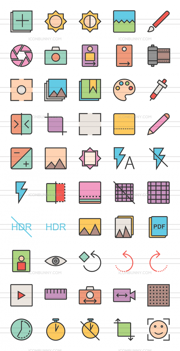 50 Picture Editing Line Multicolor Filled Icons - Preview - IconBunny