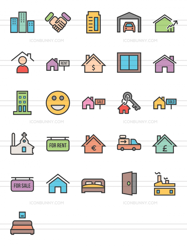 26 Real Estate Line Multicolor Filled Icons - Preview - IconBunny