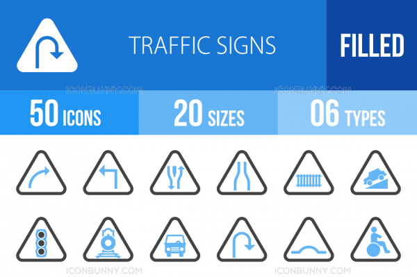 50 Traffic Signs Blue & Black Icons - Overview - IconBunny