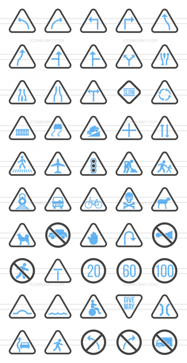 50 Traffic Signs Blue & Black Icons - Preview - IconBunny