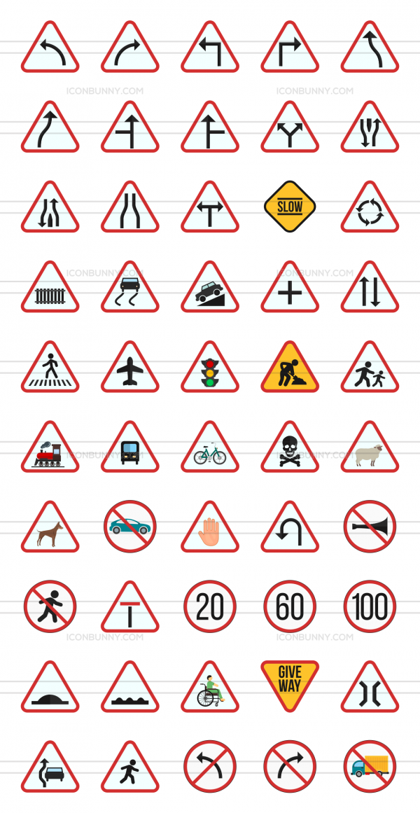 50 Traffic Signs Flat Multicolor Icons - Preview - IconBunny
