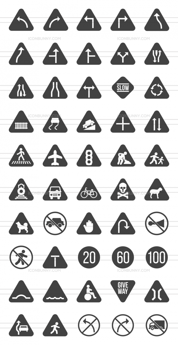 50 Traffic Signs Glyph Icons - Preview - IconBunny