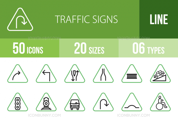 50 Traffic Signs Line Green & Black Icons - Overview - IconBunny
