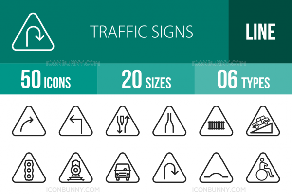 50 Traffic Signs Line Icons - Overview - IconBunny