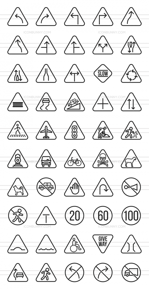50 Traffic Signs Line Icons - Preview - IconBunny