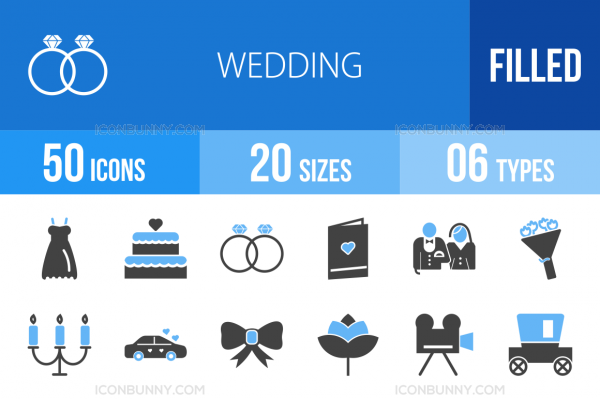 50 Wedding Blue & Black Icons - Overview - IconBunny