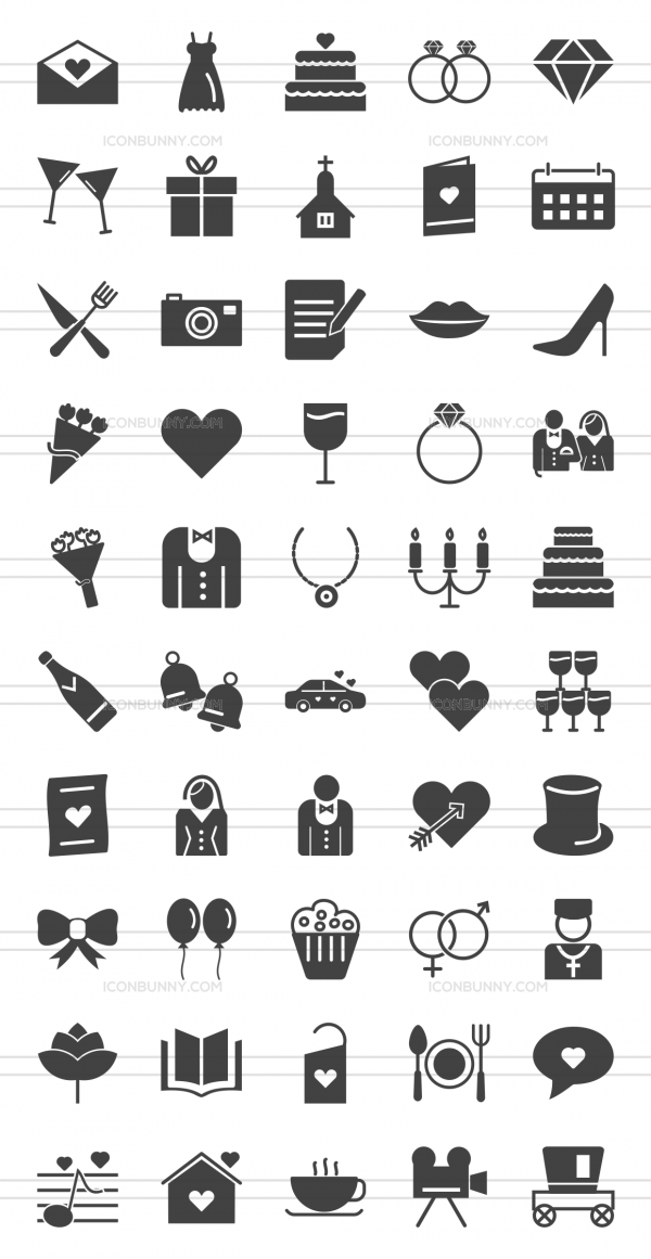 50 Wedding Glyph Icons - Preview - IconBunny